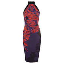Buy Karen Millen Oriental Floral Print Pencil Dress, Red/Multi Online at johnlewis.com