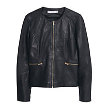 Buy Mango Zip Leather Jacket, Black Online at johnlewis.com