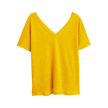Buy Mango Linen V-Neck T-Shirt Online at johnlewis.com