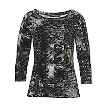 Buy Betty Barclay Graphic Print Jersey Top, Grey/Black Online at johnlewis.com