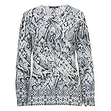 Buy Betty Barclay Collarless Printed Blouse, Grey Online at johnlewis.com