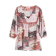 Buy Mango Flowy Printed Blouse, Light Beige Online at johnlewis.com