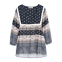Buy Mango Flowy Printed V-Neck Blouse, Black Online at johnlewis.com