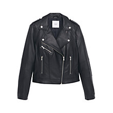 Buy Mango Zipped Biker Jacket, Black Online at johnlewis.com
