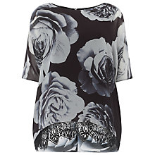 Buy Phase Eight Robyn Rose Print Blouse, Black/Charcoal Online at johnlewis.com