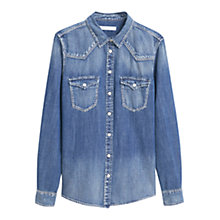 Buy Mango Medium Denim Shirt, Open Blue Online at johnlewis.com