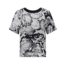 Buy Kin by John Lewis Shadow Floral Print Top, Grey Online at johnlewis.com