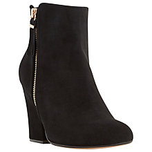 Buy Dune Orla Block Heeled Ankle Boots, Black Suede Online at johnlewis.com