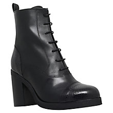 Buy Carvela Snap Block Heeled Lace Up Ankle Boots, Black Leather Online at johnlewis.com