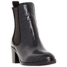 Buy Dune Quaide Leather Mock Croc Heeled Chelsea Boot, Black Online at johnlewis.com