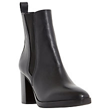 Buy Dune Prescott Leather High Heel Ankle Boots, Black Online at johnlewis.com