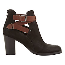 Buy Mint Velvet Davina Buckle Detail Block Heeled Ankle Boots, Black/Tan Online at johnlewis.com