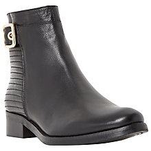 Buy Dune Padston Leather Buckle Trim Ankle Boot, Black Online at johnlewis.com
