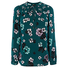 Buy Oasis Floral Smock Blouse. Green Online at johnlewis.com