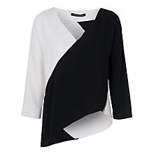 Buy French Connection Arrow Crepe Zip Top, Black/White Online at johnlewis.com