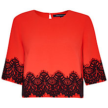 Buy French Connection Linea Lace Crop Top, Riot Red / Black Online at johnlewis.com