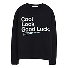 Buy Mango Printed Message Sweatshirt, Black Online at johnlewis.com