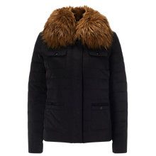 Buy Phase Eight Jolie Faux Fur Trim Jacket, Black Online at johnlewis.com