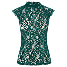 Buy Oasis High Neck Lace T-Shirt, Deep Green Online at johnlewis.com