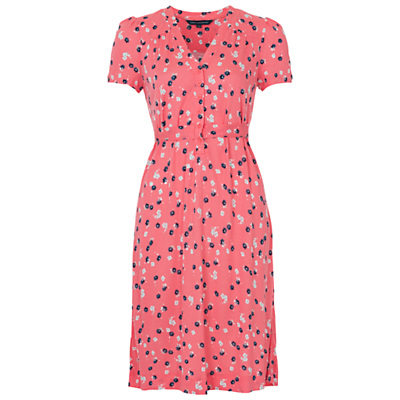 French Connection Mini Belle Jersey Button Front Dress Party Pink £65.00 AT vintagedancer.com
