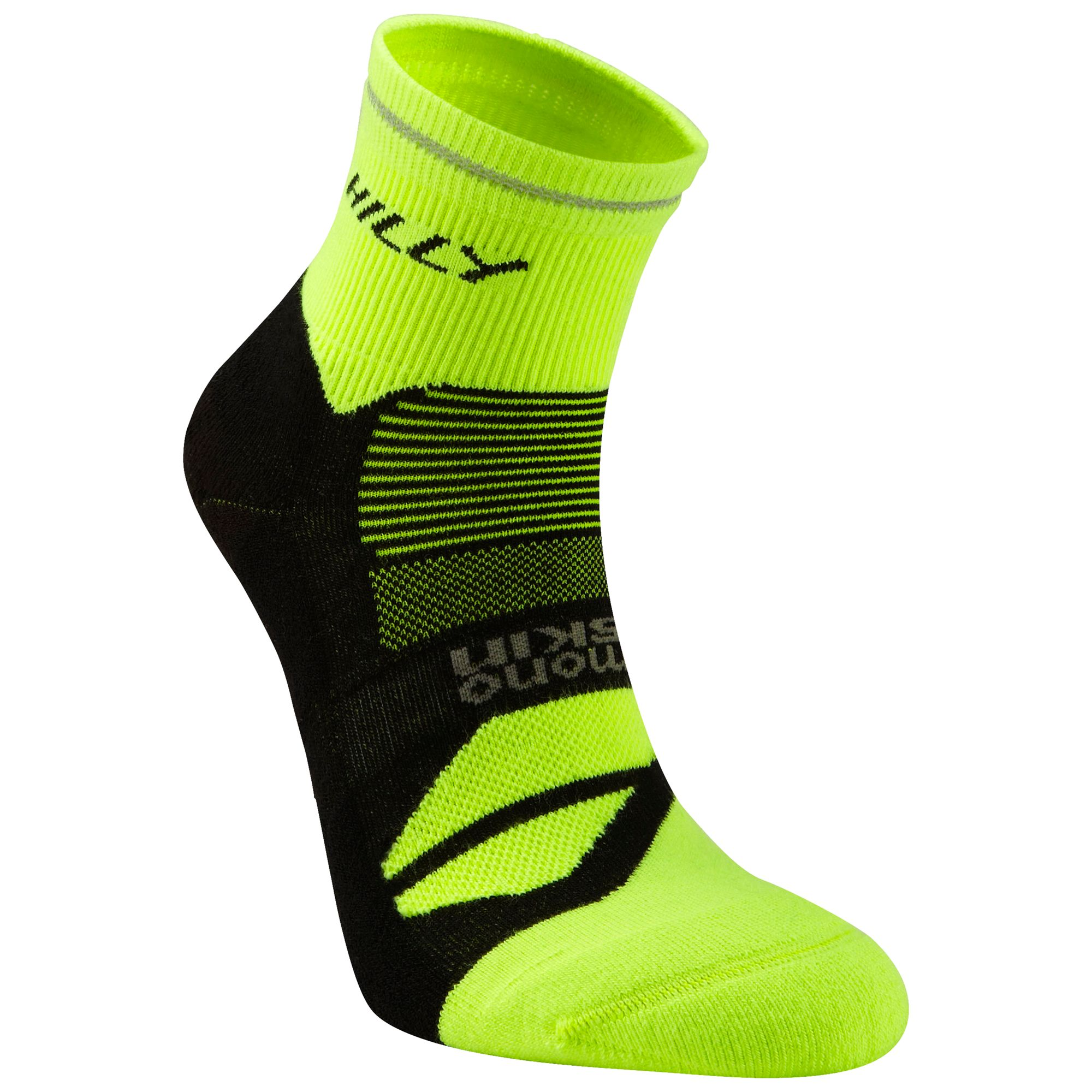 Hilly Hilly Photon Anklet Running Socks, Yellow