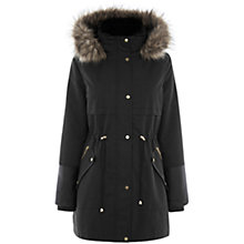 Buy Oasis Georgia Premium Parka, Black Online at johnlewis.com
