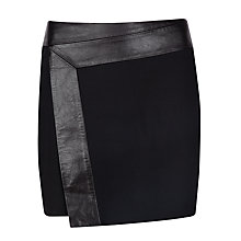 Buy Ted Baker Zyana Wrap Detail Leather Skirt, Black Online at johnlewis.com