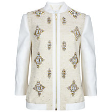 Buy Ted Baker Banwell Embellished Bomber Jacket, Cream Online at johnlewis.com