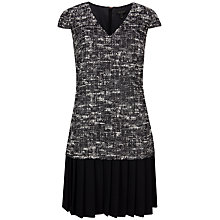 Buy Ted Baker Lucina Boucle Pleated Shift Dress, Black Online at johnlewis.com