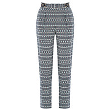 Buy Warehouse Pattern Buckle Trousers, Blue Pattern Online at johnlewis.com