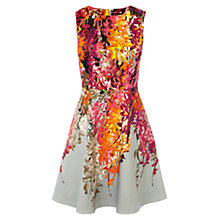 Buy Karen Millen Oriental Floral Print Fit And Flare Dress, Pink / Multi Online at johnlewis.com