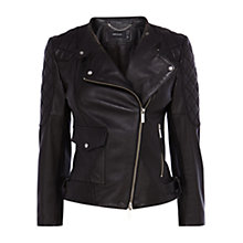 Buy Karen Millen Leather Quilted Sleeve Biker Jacket, Black Online at johnlewis.com