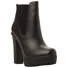 Buy Steve Madden Amandaa Chunky Cleated Sole Ankle Boot, Black Leather Online at johnlewis.com