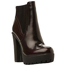 Buy Steve Madden Amandaa Chunky Cleated Sole Ankle Boot, Burgundy Leather Online at johnlewis.com