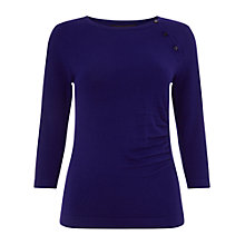 Buy Phase Eight Bianka Button Knit Top, Cobalt Online at johnlewis.com