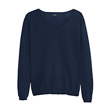 Buy Mango V-Neck Sweater Jumper, Navy Online at johnlewis.com