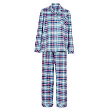 Buy John Lewis Brushed Tartan Pyjama Set, Navy Online at johnlewis.com