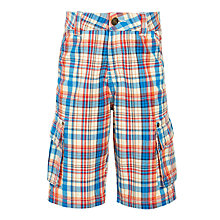 Buy John Lewis Boys' Multi Check Cargo Shorts, Red/Blue Online at johnlewis.com