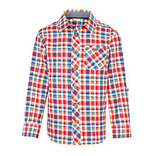 Buy John Lewis Boys' Check Shirt, Orange Multi Online at johnlewis.com