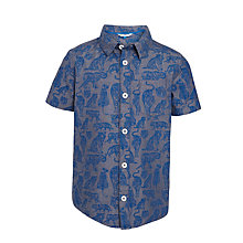 Buy John Lewis Boys' Tonal Tiger Print Shirt, Blue Online at johnlewis.com