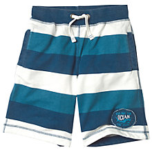 Buy Fat Face Boys' Stripe Sweat Shorts, Navy/White Online at johnlewis.com