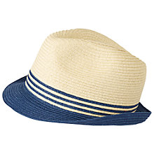 Buy Fat Face Stripy Trilby Hat, Natural Online at johnlewis.com