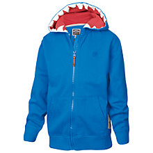 Buy Fat Face Boys' Shark Teeth Zip Through Hoodie, Cobalt Blue Online at johnlewis.com