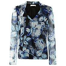 Buy Kaliko Shadow Leaf Print Blouse, Blue Online at johnlewis.com