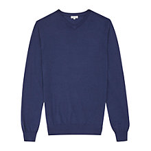 Buy Reiss Emporer Merino V-Neck Jumper, Airforce Blue Online at johnlewis.com