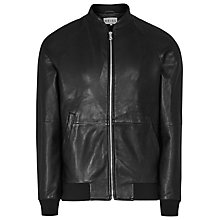 Buy Reiss Kent Leather Bomber Jacket, Black Online at johnlewis.com
