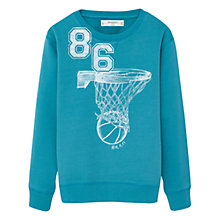 Buy Mango Kids Boys' Basketball Printed Hoodie, Turquoise Online at johnlewis.com