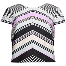 Buy Ted Baker Acra Stripe Print Crop Top, Light Grey Online at johnlewis.com