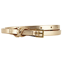 Buy John Lewis Twister Leather Belt, Gold Online at johnlewis.com