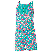 Buy Fat Face Girls' Ariel Flamingo Jersey Playsuit, Aqua Online at johnlewis.com